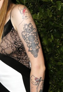 Ireland Baldwin sports a David Bowie tattoo at the young Hollywood Nylon party at hyde