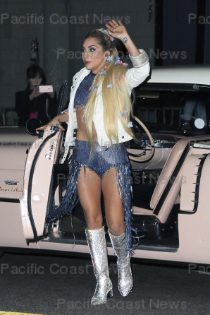 158780, Lady Gaga seen arriving in a vintage car for a performance at 'The Satellite' dive bar in Silver Lake. Gaga performed hits from her new album 'Joanne' as part of her 'Dive Bar Tour'. Silver Lake, California - Thursday October 27, 2016. Photograph: © MHD, PacificCoastNews. Los Angeles Office (PCN): +1 310.822.0419 UK Office (Photoshot): +44 (0) 20 7421 6000 sales@pacificcoastnews.com FEE MUST BE AGREED PRIOR TO USAGE