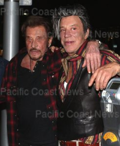 150475, Johnny Hallyday and Mickey Rourke hanging out together in Beverley Hills. Los Angeles, California. Sunday April 10th 2016. Photograph: © MHD,  PacificCoastNews. Los Angeles Office: +1 310.822.0419 UK Office: +44 (0) 20 7421 6000 sales@pacificcoastnews.com FEE MUST BE AGREED PRIOR TO USAGE