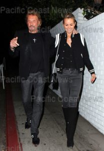 107378, HOLLYWOOD, CALIFORNIA - Thursady October 24, 2013. Johnny Hallyday seen with a female friend at Chateau Marmont in Hollywood. Photograph: © MHD, PacificCoastNews **FEE MUST BE AGREED PRIOR TO USAGE** **E-TABLET/IPAD & MOBILE PHONE APP PUBLISHING REQUIRES ADDITIONAL FEES** LOS ANGELES OFFICE: +1 310 822 0419 LONDON OFFICE: +44 20 8090 4079