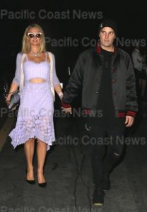 174622, Paris Hilton shows off her midriff in a lilac dress as she and fiance Chris Zylka leave Paris Jackson's 20th Birthday Bash at Hyde Sunset Kitchen + Cocktails. Los Angeles, California - Friday April 6, 2018.  Photograph: © MHD, PacificCoastNews. Los Angeles Office (PCN): +1 310.822.0419 UK Office (Avalon): +44 (0) 20 7421 6000 sales@pacificcoastnews.com FEE MUST BE AGREED PRIOR TO USAGE